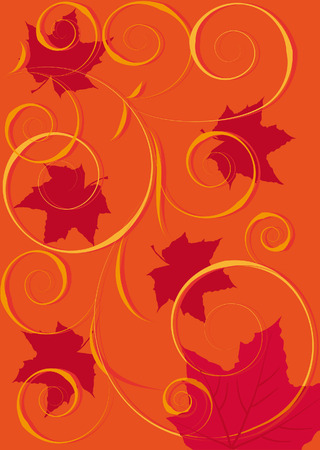red background with flying maple leaf Stock Vector - 5575073