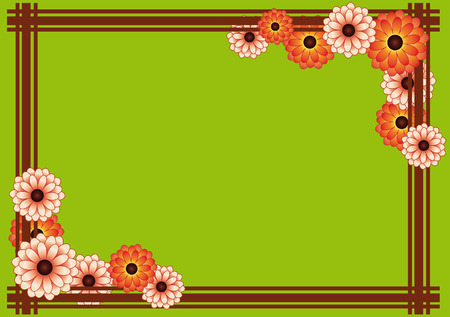 calendula flower: Frame of colorful chrysanthemums and brown stripes on a green background