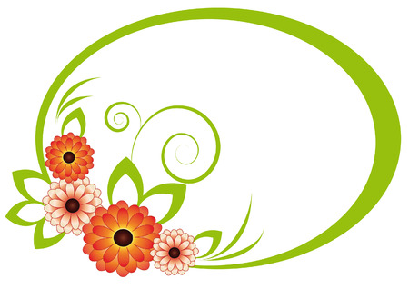 The oval frame with a green colored chrysanthemums, leaves and scrolls Vector