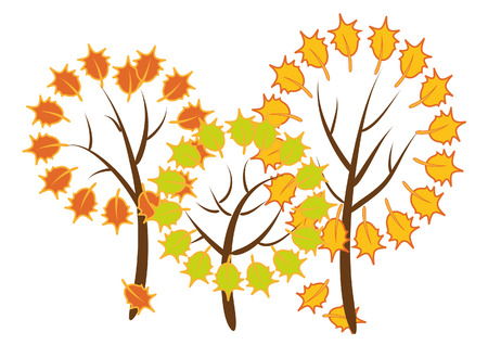Illustration. Three stylized tree with colorful leaves on a white background
