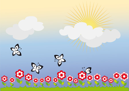 Blooming Meadow. Bright sunshine. Butterflies fly Stock Vector - 5575071