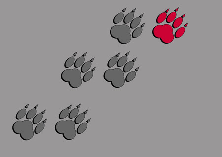 Traces of a large animal with claws on a gray background Illustration
