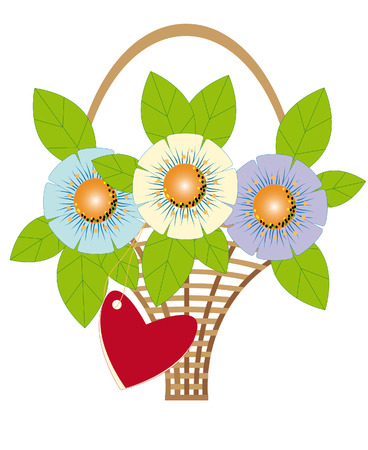 Holiday gift - a bouquet of flowers and cards in the form of heart
