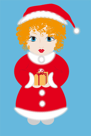 red-haired girl dressed as Santa with a gift in the hands Vector