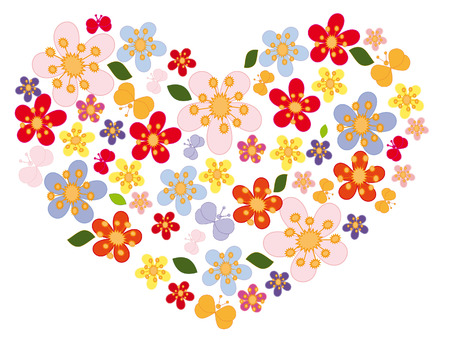 valentine of bright spring flowers and little butterflies Stock Vector - 6134356