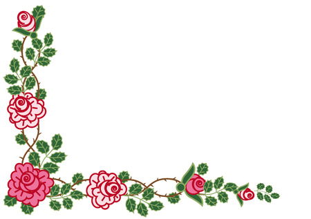 Decorative corner of pink climbing roses Illustration