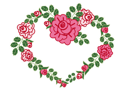 Romantic valentine flowers roses Illustration