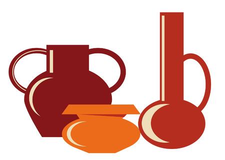 ewer: Three different shapes of ceramic jug