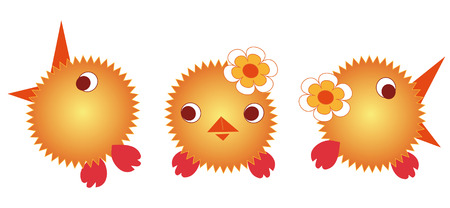 vulnerability: Illustration. Three jolly little brother Chicken Illustration
