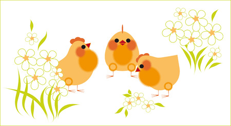 Three chicken among the flowers Vector