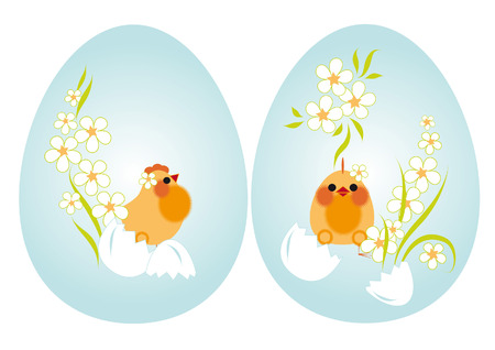 Easter eggs. But the blue background of chickens and flowers Vector