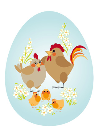 Easter egg. Happy family - chicken, rooster and chickens