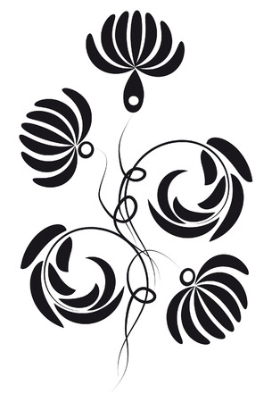 Silhouettes of flowers and leaves Zdjęcie Seryjne - 6694846