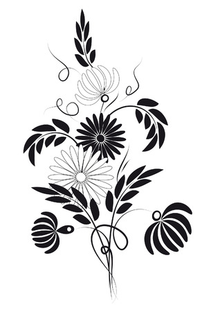 Bouquet of daisies and chrysanthemums. Vector