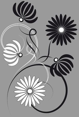 Gray background with a floral pattern
