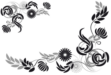 White background with silhouettes of flowers and leaves