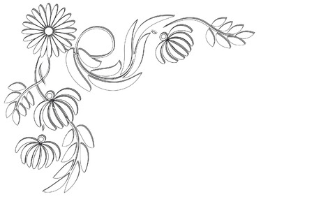 Angle vignette with flowers and leaves Illustration