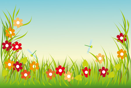 summer meadow with colorful flowers and dragonflies Vector