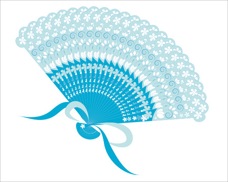 blue patterned fan Stock Vector - 7016969