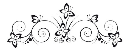 Black and white vignette in a graphic style with butterflies and scrolls Zdjęcie Seryjne - 7016970