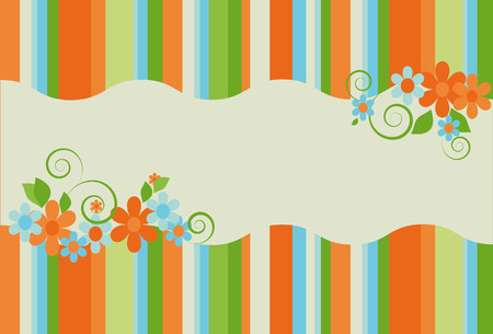 striped background bright summer colors with flowers and space for text