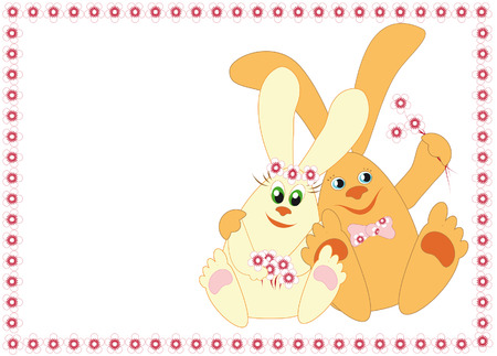A couple of funny rabbits with flowers in a frame of flowers Vector