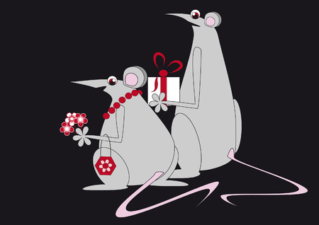 A couple of mouse goes to visit with flowers and gifts Vector