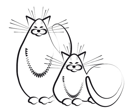 The stylized image of two fat cats happy