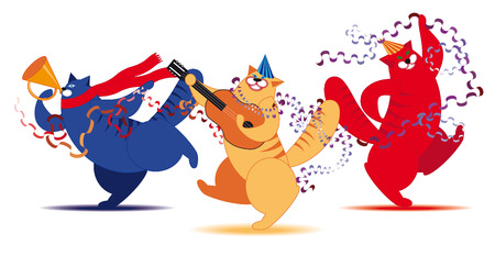 Three fat cat dancing and having fun Stock Vector - 7820713