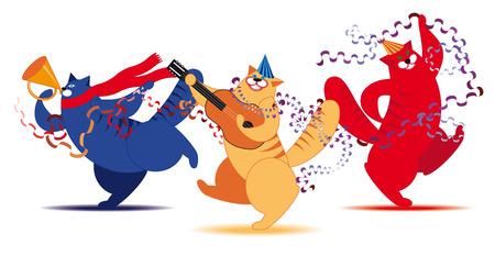 Three fat cat dancing and having fun