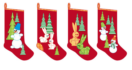 Christmas socks for gifts with bunnies, Christmas trees and snowmen Illustration
