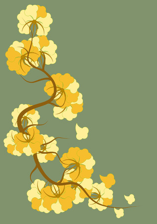 Yellow flowers in the Art Nouveau style on a green background Vector