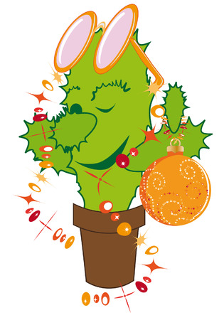 Jolly cactus dressed up like a Christmas fir Stock Vector - 8218155
