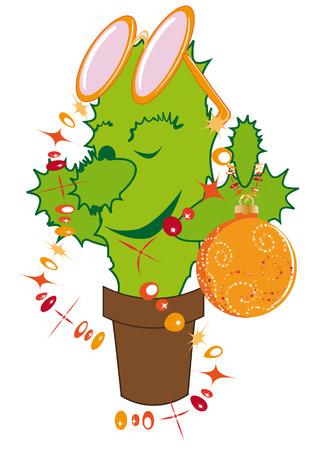 Jolly cactus dressed up like a Christmas fir Vector