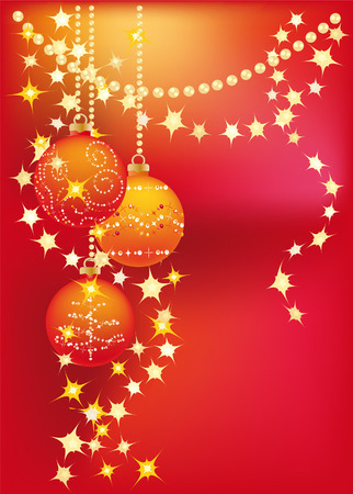New red background with gold garlands and Christmas tree balls Vector