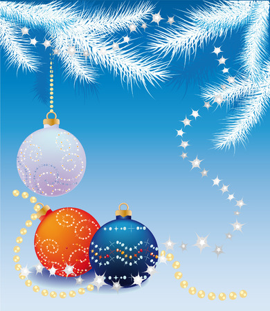 New blue background with snow-covered fir branches and balls