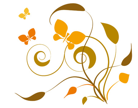 Decorative vignette with silhouettes of leaves and butterflies Stock Vector - 8578446