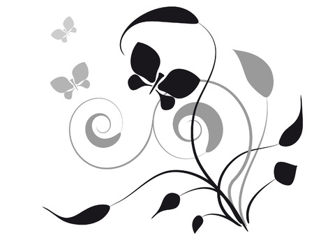 Decorative vignette with silhouettes of leaves and butterflies Ilustrace