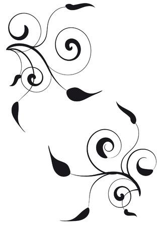 vignette: Vignette d�coratif avec des silhouettes de feuilles Illustration