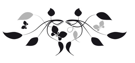 Decorative vignette with silhouettes of leaves and butterflies Illustration