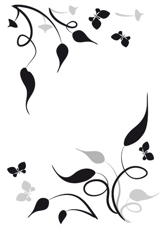 fancy border: Decorative vignette with silhouettes of leaves and butterflies Illustration