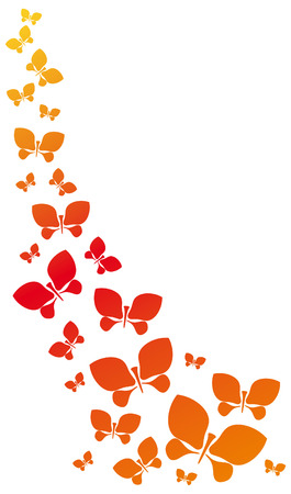 A lot of bright flying butterflies on a white background