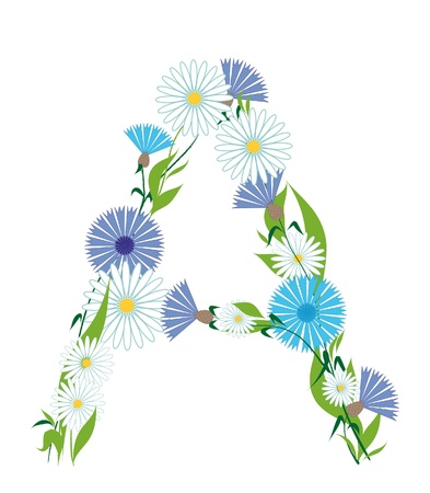 A letter from cornflowers and daisies Stock Vector - 9190128