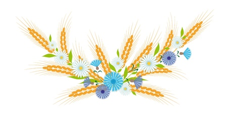 Vignette of ears, daisies and cornflowers Stock Vector - 9412358