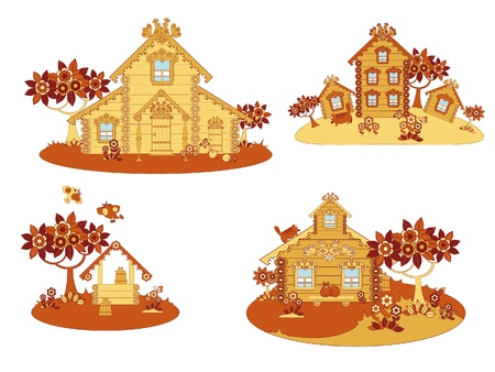 Sketches of rural life in wooden huts Vector