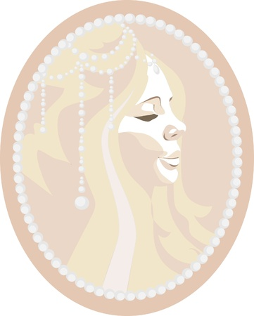 Cameo depicting a beautiful girl Vector