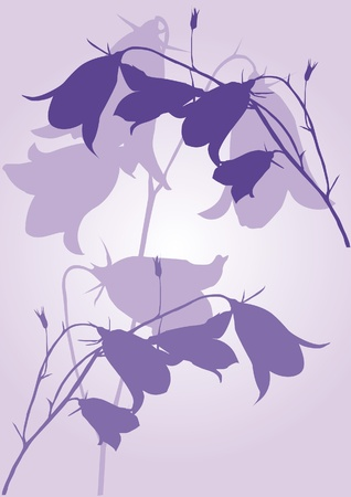 Lilac background with flowers bluebells