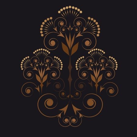 ornamental vignette in beige and brown palette on a black background Illustration