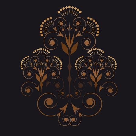 ornamental vignette in beige and brown palette on a black background Illustration