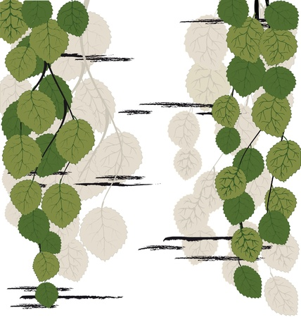 birch bark: Background with leaves and bark of birch Illustration